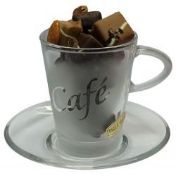 Tasse & Chocolats - Tasse en verre garnie de chocolats sans sucre