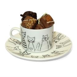Tasse à café Chat et ses chocolats sans sucre