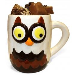 Tasse Hibou chocolat et coffret pralines sans sucre