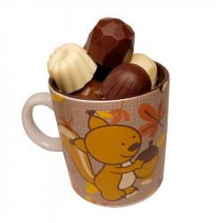 Mug Écureuil et chocolats sans sucre ajouté
