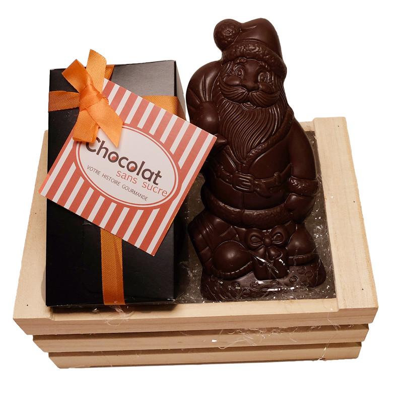 Coffret Joyeux Noël père Noël en chocolat sans sucre et son coffret de bonbons de chocolats