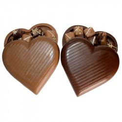 Cœur à remplir chocolat au lait et chocolat noir sans sucre ajouté