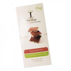 Tablette de chocolat pauvre en sucre - Chocolat au lait et noisette - 85g