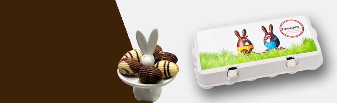 Coffret d'oeufs de Pâques chocolat sans sucre, boîte dégustation Lapinou